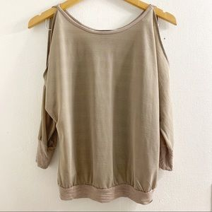 Guess Taupe Cold-Shoulder Blouse